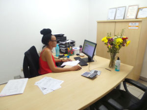 COVID19 SAFETY FOR CLIENTS - SHOPHIE AT DESK