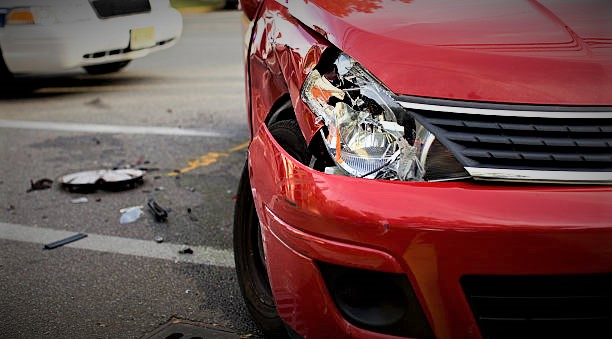 Red Car in an accident